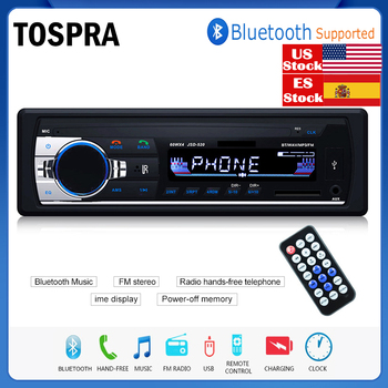 цена на TOSPRA Car Multimedia Player Bluetooth Autoradio MP3 Music Player Car Stereo Radio FM Aux Input Receiver USB   12V In-dash 1 din