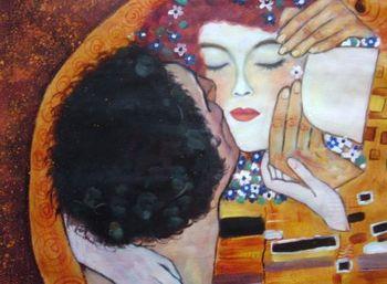 100%Handmade Gustav Klimt The Kiss Close up Oil Painting 24x36.NOT poster.