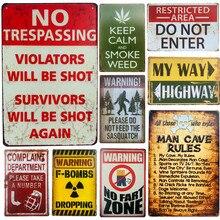 Carteles Shabby Chic, pistola para No fumar, No introducir placa Vintage, carteles de estaño de hierro, Bar, Club, café, Hotel, decoración de pared para el hogar
