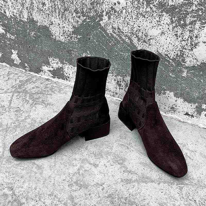 Krazing Pot popüler nefes yumuşak akın örgü çorap çizmeler yuvarlak ayak med topuklar üzerinde kayma kış kadın katı yarım çizmeler L92