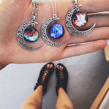 FNIO Hot Fashion Jewelry Choker Necklace Glass Galaxy Lovely Pendant Silver Color Chain Moon Necklace Jewelry Gift image