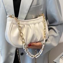 Chain Dumpling Bags For Women 2021 Branded Designer Baguette Shoulder Bags Beach PU Leather Casual Crossbody Bag Small