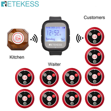 Retekess Sistem Pemanggil Nirkabel Pelayan Call Pager + TD106 Watch Receiver + 10 T010 Empat Kunci Tombol Restoran Pager cafe F9453(China)
