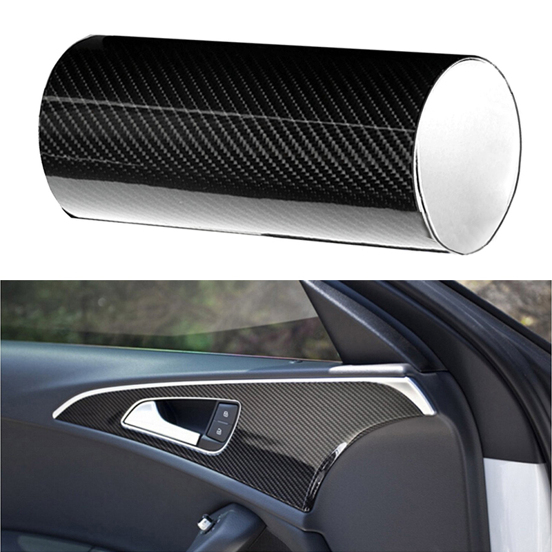 6D Shiny Black High Gloss Auto Sticker Sheet Smooth Carbon Fiber Pattern Car Film Wrap Decal For Automobile Roofs Trunk Dropship