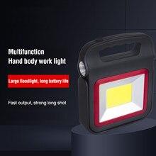 Lanterna portátil solar carregamento usb cob luz de trabalho 5 modo vermelho led aviso de emergência holofote tenda acampamento pesca lâmpada luz