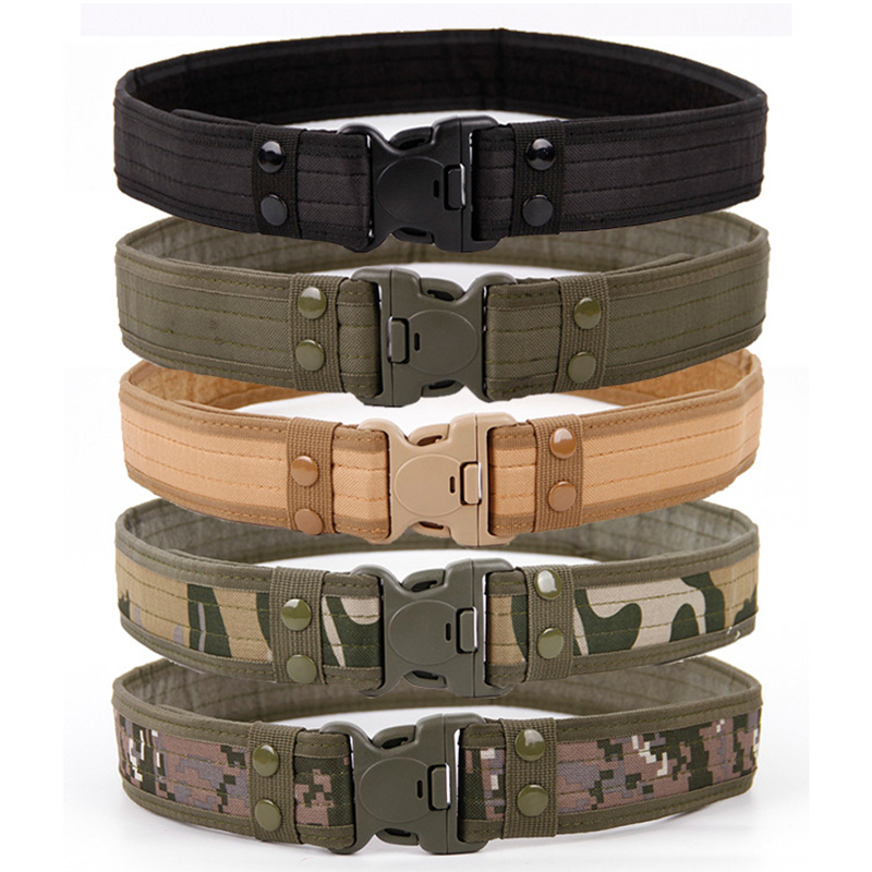 2020 New Army Style Combat Belts Quick Release Tactical Belt Fashion Men Canvas Waistband Outdoor Hunting 9Colors Optional 130cm|Men