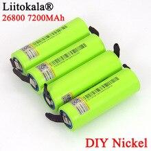 4PCS Liitokala 3.7V 26800 7200mAh แบตเตอรี่ชาร์จ 5C 35A discharge DIY นิกเกิลแผ่นแบตเตอรี่