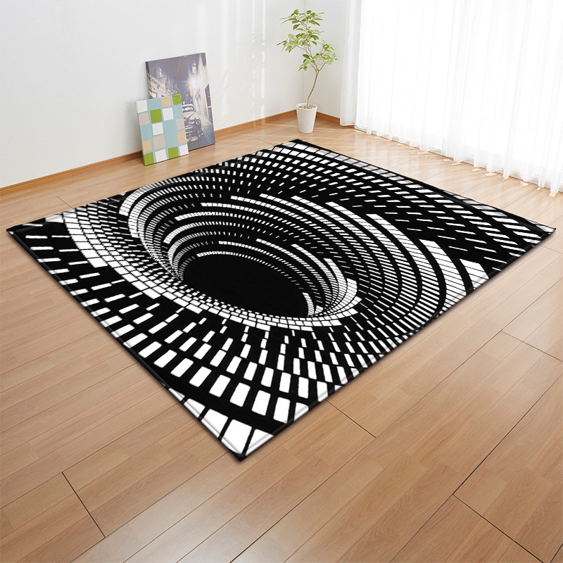 Creative Black And White 3D Print Carpets For Living Room Bedroom Area Rugs Anti-Slip Kitchen Mat Home Hallway Large Size Carpet