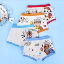 4 pçs/lote 2020 genuíno pata patrulha cueca chase marshall meninos briefs underwear 95% algodão calcinha crianças aniversário presente de natal