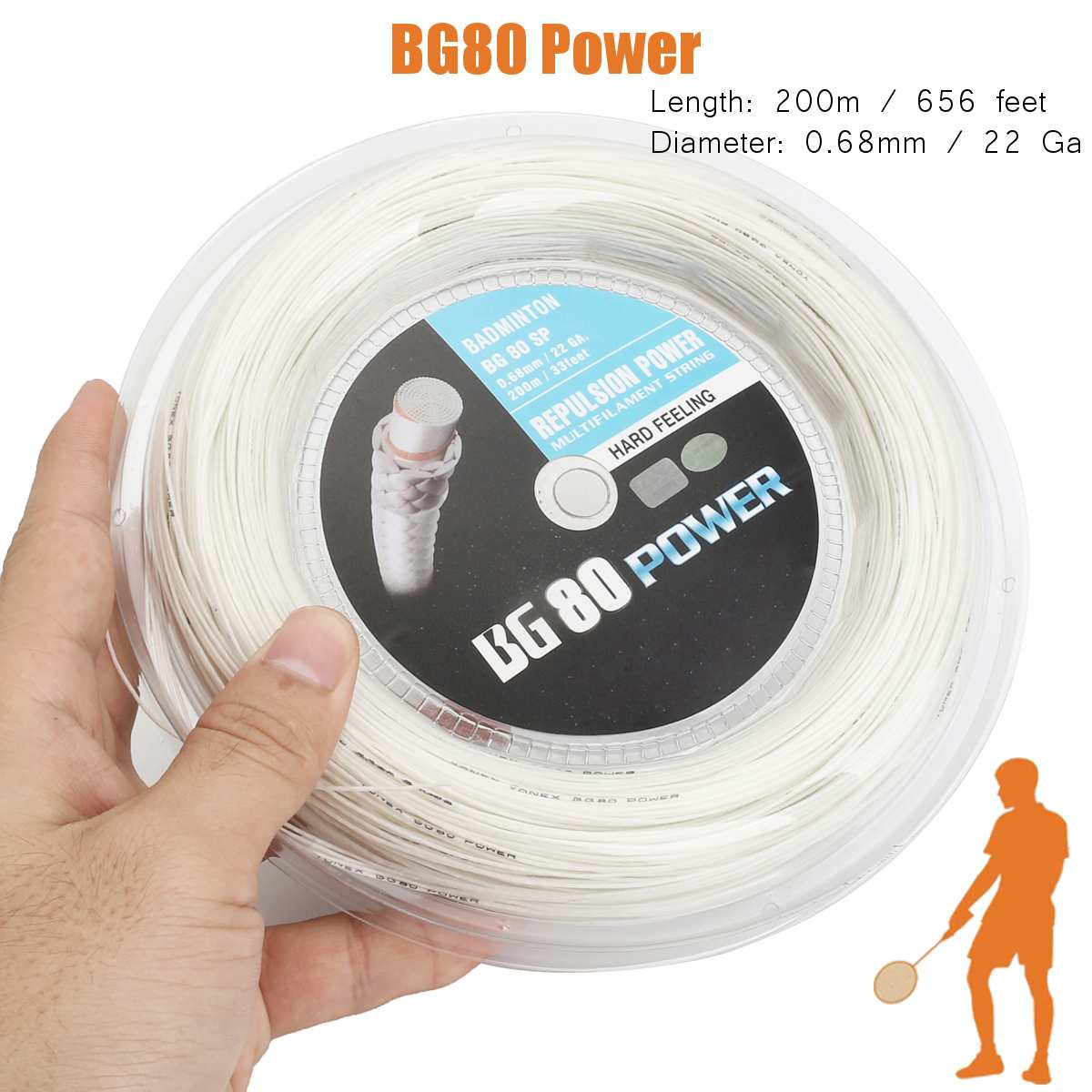 Hard Feeling 200m Long BG80 0.68mm Badminton String Badminton Racket String