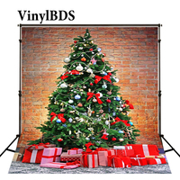 Vinylbds Fotografie Achtergronden Kerst Bakstenen Muur Gift Achtergrond Fotografie Kerstboom Digitaal Gedrukt Achtergrond