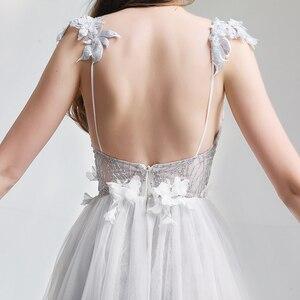 Image 5 - SSYFashion לבן תחרה שמלת ערב סקסי צווארון V ללא משענת חוף שמלת Vestido דה פיאסטה משתה פרח המפלגה במלאי