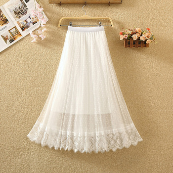 mesh half skirt Polka Dot pleated skirt medium length women's summer high waist with fairy yarn A-line long skirt