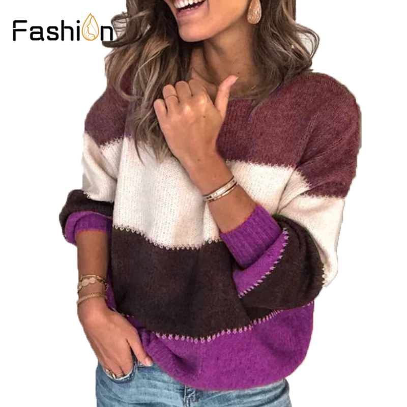 Plus Size 5XL Loose Autumn Winter Striped Sweater Women Pullover Sweaters High Quality Oversized Color Block Sweater Jumper