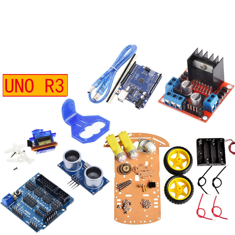 arduin0 div robot 4wd designer car kit uno r3 development board programming smart toy car electronic sleeve