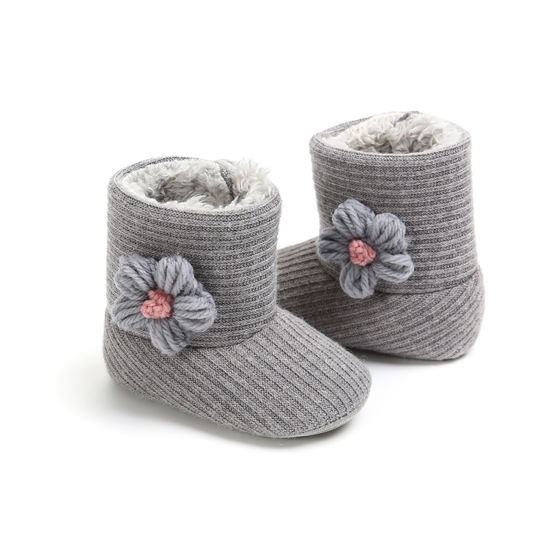 Baby Boots Newborn Plus Velvet Knitted Wool Soft Bottom Toddler Warm Boots Flowers Baby Boots Girl