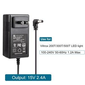 Image 4 - 3 เมตร AC/DC อะแดปเตอร์จ่ายไฟ LED Light & Monitor EU Plug 100 240V DC 15V 2.4A สำหรับ VILTROX VL 200T VL 300T VL 500T