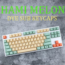 dhl ems 117 keycaps pbt cherry profile caps for mechanical gaming keyboard russian korean japanese Hami Melon cherry profile Keycaps For Mechanical Keyboard key dye sub Japanese root black font thick pbt keycap gh60 miami xd84