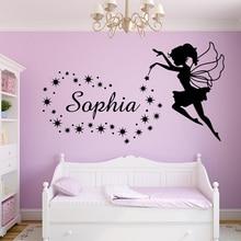 Sticker Wall-Decal Bedroom-Decoration Fairy Custom Name Kids Room Girls Angel-Stars Nursery