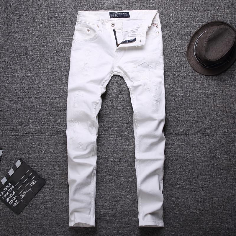 Fashion Streetwear Men Jeans Slim Fit White Color Slim Fit Elastic Ripped Jeans Men High Quality Designer Hip Hop Jeans Homme