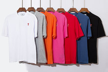 T-shirt manches courtes col rond homme et femme, Simple, multicolore, avec petite broderie, amour quotidien, nouvelle collection été 2021