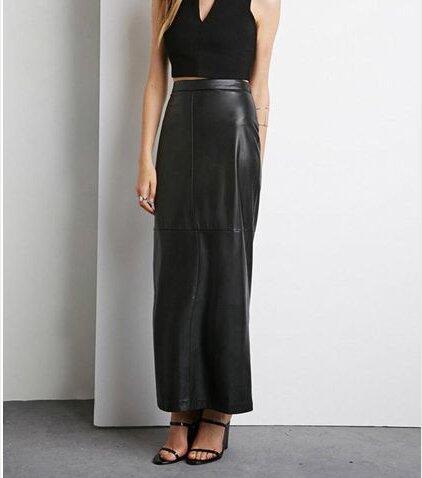 Woman Big Plus Size 8XL Maxi Long Black Faux Leather Skirt Women Saia Longa Femininas Ladies High Waist Straight Skirts