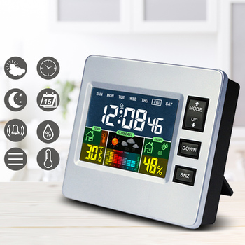 LCD Indoor Digital Thermometer Hygrometer Alarm Clock Calendar Weather Station Desk Clock Temperature Humidity Meter Clock new abs multi functions digital desk pen pencil holder display lcd alarm clock thermometer
