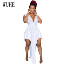 WUHE Deep V Low-breasted Halter Irregular Side Waist Sexy Dress Club Elegant Sleeveless Long High Stretchy Bodycon Dresses