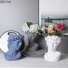 Sztuka ceramiczna portret David popiersie roślina zielony wazon na kwiaty garnek dekoracja stołu kompozycja kwiatowa wazon do domu dekoracji tanie tanio Europa Blat wazon