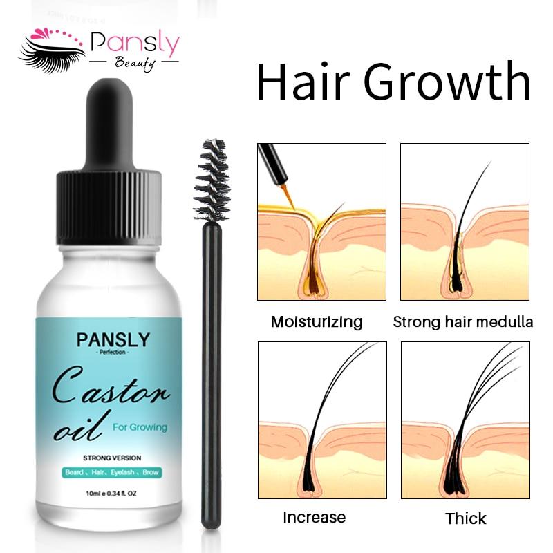 Organic Castor Oil Natural Hair Beard Growth Serum Hair Care Anti Hair Loss Products Grow Hair Beard Eyelashes Eyebrow 10ml 3
