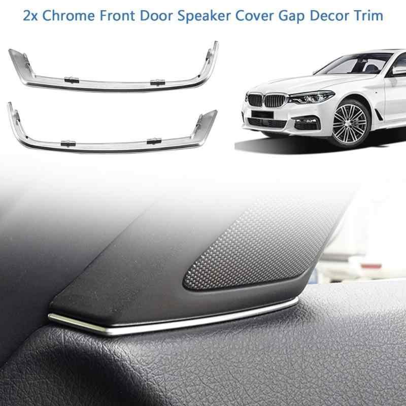 2Pcsรถประตูด้านหน้าลำโพงภายในรถอุปกรณ์เสริมGap TrimเงินABS MouldingsภายในสำหรับBMW 5 Series f10 2011-2013