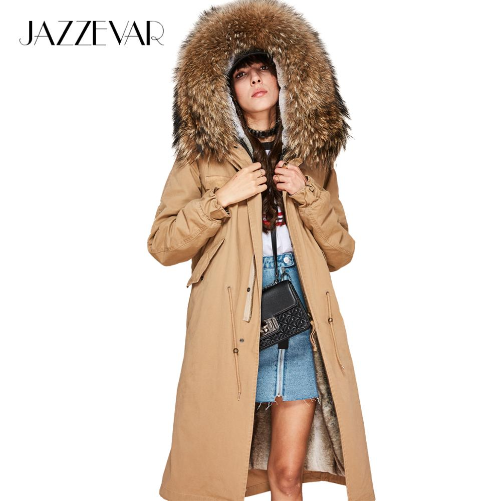 JAZZEVAR 2019 New Fashion Women's X-Long   parka   large real racoon fur Hooded Coat Outwear natural color Military Winter Jacket