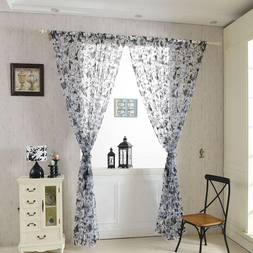 Multicolor Butterfly Flocking Curtains Modern Cheap Flocked Tulle For Window Sheer Curtains For Kitchen Living Room 100 * 200 C