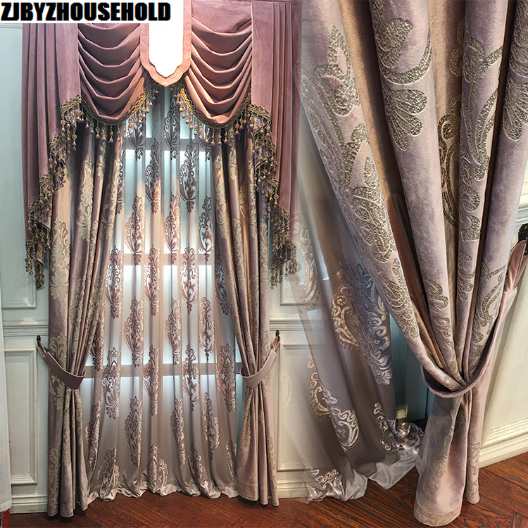 High Grade Velvet Gilded Window Curtains for Living Room Purple Color Window Curtains for Tulle Bedroom Blackout Curtains