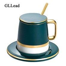GLLead Blue Golden Ceramic Coffee Cup Saucer Set And Lid European Flower Tea Black Teacup Porcelain Fashion Drinkware