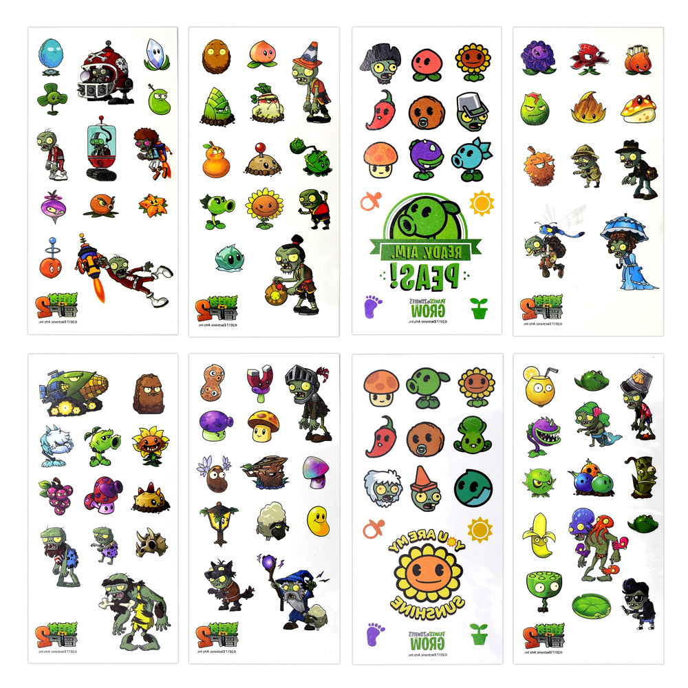 Cartoon Water Transfermation Temporary Children Tattoo Paper Plant Vs. Zombie Fake Tattoo Stickers Toys For Boy Kids