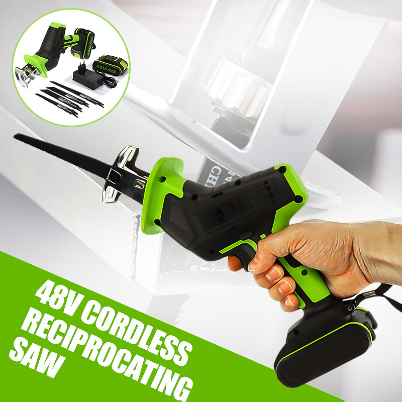Portable 48V Cordless Reciprocating Saw For Wood Metal Chain Saws Cutting Power Tool Li-Ion Battery Electric Saber Saw Blade