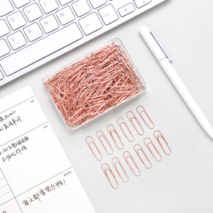 120 pcs/box 28mm steel standard paper clips Creative Nickel plated Rust-proof Rose gold Paper clips Advanceds office stationery