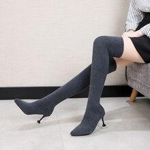 เซ็กซี่ผู้หญิงกว่าเข่ารองเท้าถุงเท้าWARMส้นสูงรองเท้ายืดถักบางส้นแฟชั่น 2019 ฤดูหนาวผู้หญิงชี้toeรองเท้า