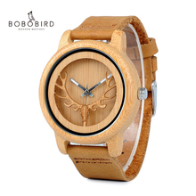 BOBO BIRD L A27 Hollow Deer Head Bamboo Wood Casual Watches for Men Women Ladies Leather Strap Quartz Watch free shipping