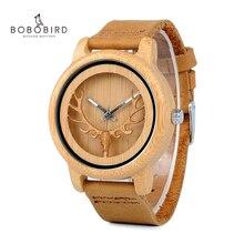 ボボ鳥 L A27 中空鹿ヘッド竹木材カジュアル腕時計レディース女性のためのレザーストラップクォーツ時計送料無料