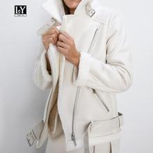 Ly Varey Lin, зимняя куртка из искусственной овечьей кожи, Женская куртка из искусственной овечьей кожи с меховым воротником, мотоциклетная куртка из искусственной кожи на молнии, теплая плотная верхняя одежда