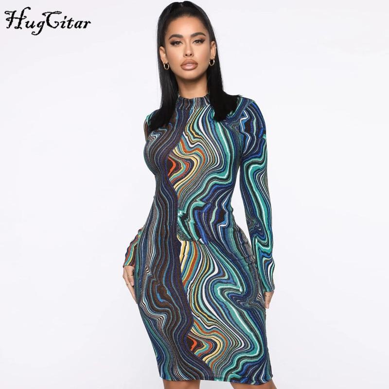 Hugcitar 2020 Print Long Sleeve Bodycon Sexy Midi Dress Spring Summer Women Fashion Streetwear Outfits Club Wear
