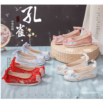 Chinese Traditional Oriental Dance Shoes Girls Floral Embroidered Bride Wedding 7Style Flat Stage Retro Women Dress Hanfu Shoe