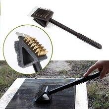 Щетка для гриля барбекю 3 в 1 DIY удобная щетка для шашлычницы щетка для чистки черная посуда кухонная ручка духовки инструмент для кемпинга для очистки