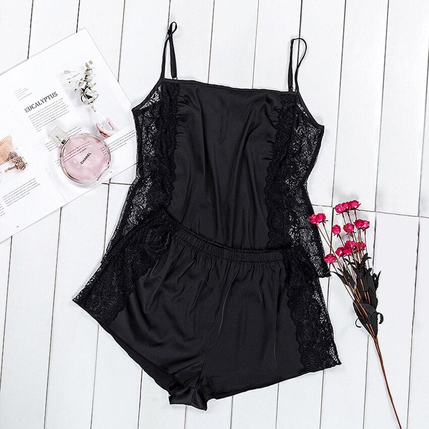 VICTORIA'S KEY Black Sleepwear Lingerie Women Sexy Pajamas Set Spring Autumn Sleeveless Cami Lace Top And Satin Shorts Female