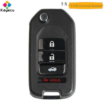 KEYECU 5PCS Xhorse English Version for Honda Type Universal Remote Key With 4 Button - FOB for VVDI Key Tool VVDI2 Wire XKHO04EN