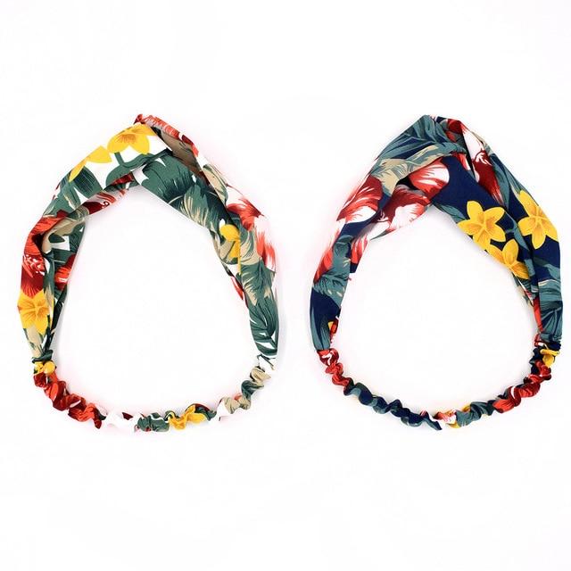 Fashion Women Girls Summer Bohemian Hair Bands Print Headbands Vintage Cross Turban Bandage Bandanas HairBands Hair Accessories 6