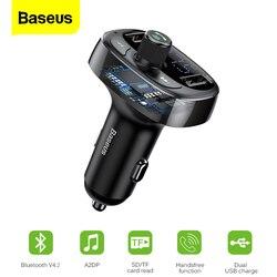 Baseus-Kit de cargador de coche Aux, transmisor FM, Bluetooth, manos libres, reproductor MP3, modulador FM, 3.4A, USB Dual, cargadores de teléfono móvil rápido