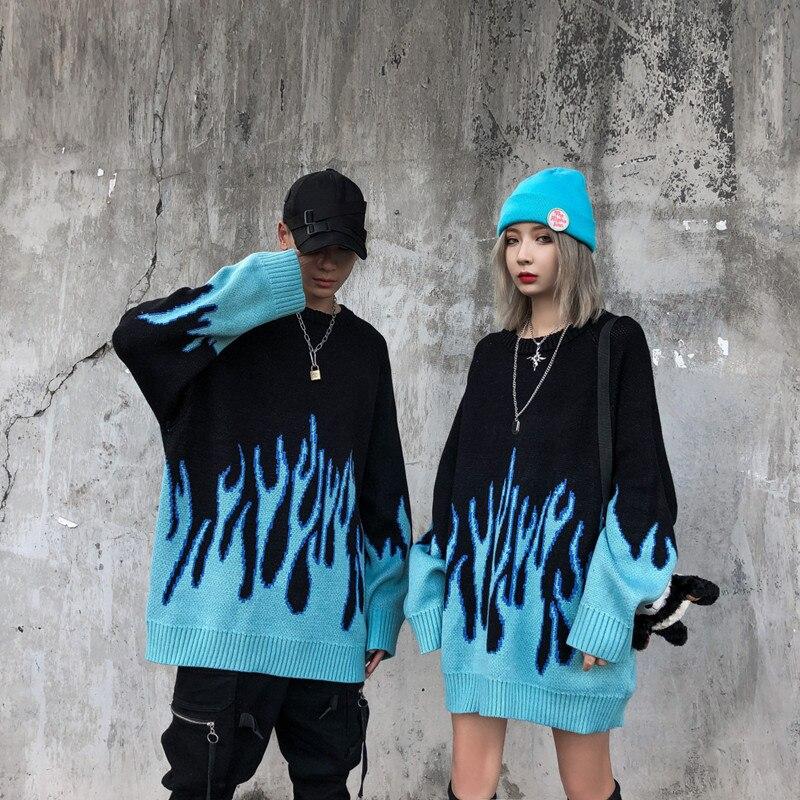 Мужской свитер, уличная одежда, Ретро стиль, рисунок пламени, хип-хоп, осень, тянущийся, спандекс, круглый вырез, большие размеры, пара, повсед...